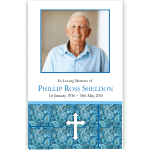 Photo Funeral Thank You Card: Blue Paisley with Cross