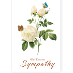 Single Condolence Card: Butterflies & White Roses